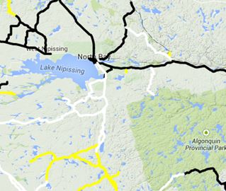Black means wet/dry roads, yellow means snow covered and white means snow packed