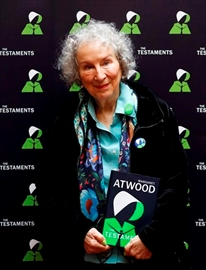 Canadian author Margaret Atwood poses for a photograph during a press conference at the British Library to launch her new book 'The Testaments' in London, Tuesday, Sept. 10, 2019. (AP Photo/Alastair Grant)