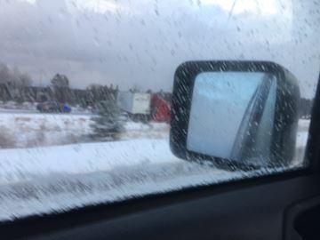 Jackknifed tractor-trailer blocking Highway 11 in Huntsville