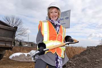 Sue McFadden, Mississauga city councillor for Ward 10, at the groundbreaking for Churchill Meadows Community Centre on Ninth Line on Tuesday. The centre is expected to open in 2020.