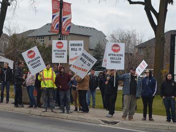 Omnibus budget bill protest in Waterdown