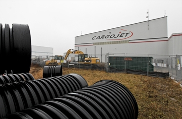 Photo of Cargojet Inc, one of the main tenants of a ne air cargo logistics facility at the John C. Munro Airport