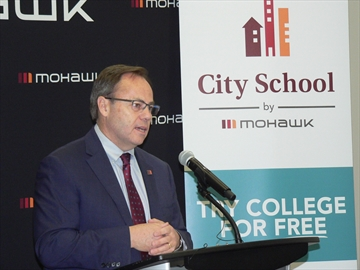 Mohawk College president Ron McKerilie applauded Hamilton Liberal MPP Ted McMeekin's announcement the government will provide $600,000.
