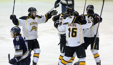 Aurora Tigers celebrate a third period goal against the Toronto Lakeshore Patriots during game 3 of the OJHL Buckland Cup final at York University Monday. (Nick Iwanyshyn/York Region Media Group)