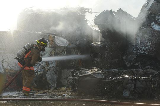 Burlington Firefighters douse scrap metal blaze