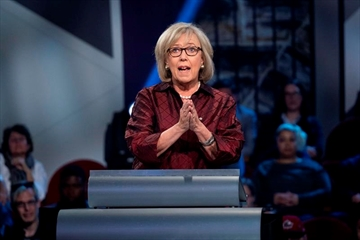 Green Party leader Elizabeth May speaks during the Federal leaders French language debate in Gatineau, Que. on Thursday, October 10, 2019. THE CANADIAN PRESS/Chris Wattie