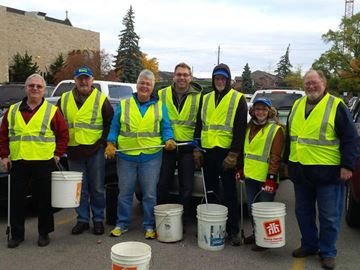 Stoney Creek Rotarians recently gathered for a community clean-up along King Street.
