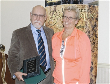 Brian Brooks was presented with the Keeper of the Gates award by Jayne Curtis at the recent awards celebration held by the 1000 Islands Gananoque Chamber of Commerce.