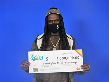 Christopher Deleon of Mississauga scored a $1 million win from the OLG's Lotto Max draw.