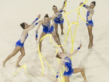 Katrina Cameron and her Rhythmic Gymnastics team at a Pan Am event.