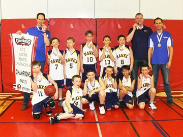 The Orangeville Hawks Atom boys basketball team had a gold-medal showing at the Ontario Basketball Provincial Championships on the weekend (April 5-7) in Burlington. The squad met with the Whitby Wildcats in the finals, where despite a slow start, the Hawks' prevailed with a 49-35 win.