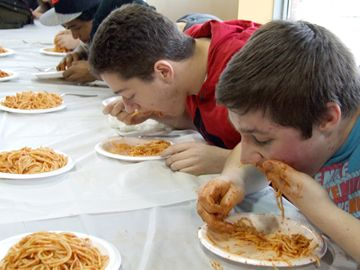 These youngsters gave it their all to polish off as much pasta they could in the three minutes allotted