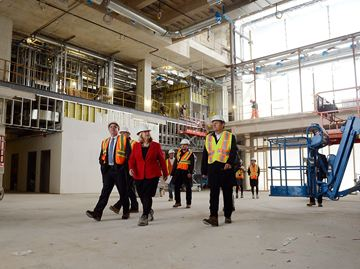 Health Minister Deb Matthews toured the new Oakville Hospital site, after speaking at the Chamber of Commerce. Along for the tour was HHS John Oliver, VP Redevelopment Bill Bailey, MPP Kevin Flynn, and HHS Director of PR Trish Carlton.