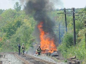 Railway ties ablaze