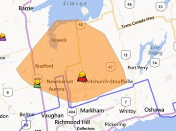 Hydro One map shows more than 50,000 customers who were without power Sunday night. Power was fully restored as of about 5:30 a.m. Monday.