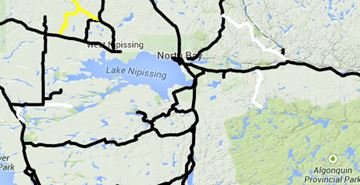 Black indicates wet to bare roads, yellow means snow covered