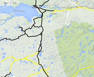 Black lines mean bare to wet roads, yellow means snow covered and white indicates snow packed
