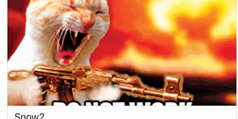 Cat Firing Machine Gun Animated