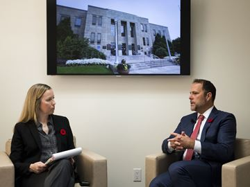 St. Catharines Mayor Walter Sendzik chats with reporter Karena Walter at The Standard Thursday Nov. 7, 2019.