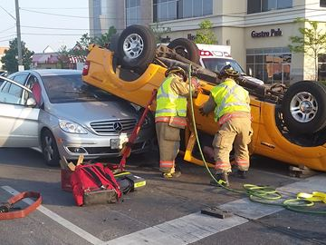 Truck rollover in Burlington sends several to hospital