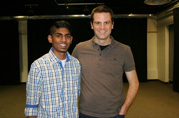 Robert Hamilton, drama teacher at Sandalwood Heights Secondary School, wishes good luck to his student Siddarth Anilkumar Rajashree as he leaves for Doha, Qatar, to participate at the 2014 THIMUN Qatar Northwestern Film Festival in Doha, Qatar.