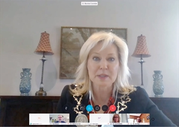 Mississauga Mayor Bonnie Crombie addresses city council at the Wednesday, May 20 meeting. City staff presented a plan to reopen some park amenities starting May 25 at the meeting, and council opted to defer a decision on reopening until a later date.