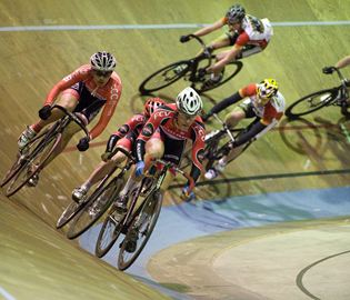 Cyclists race at the Forest City Velodrome during the Mary Kelly Memorial 100 on Saturday (April 19).