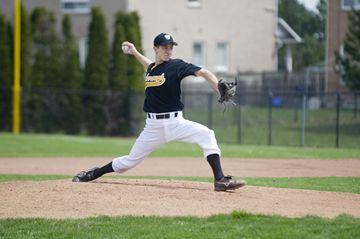 Luke Turino pitches for the Scarborough Stingers as they face Thronhill in the opening game of the 2013 season at Neilson Park April 28.