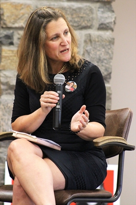 Chrystia Freeland visits Huntsville, talks NAFTA, foreign aid, climate, gender equity