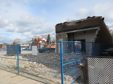 The Beer Store ot Danforth and Greenwood Avenues is gone to make way for a new condominium development.