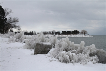 Ice and snow at Lakefront Promenade Park in Mississauga.