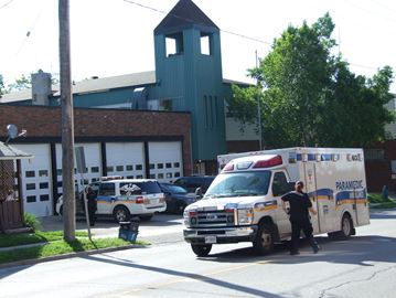 Emergency personnel in downtown Orillia