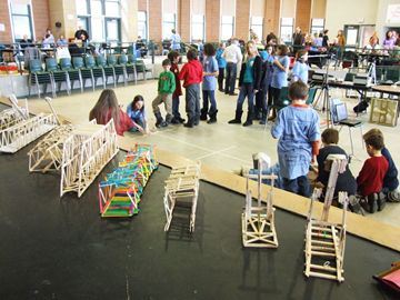 Participants in the catapult contest were eager to try out their inventions at the event.