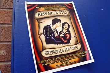 Poster advertises the Alexander Mackenzie SS production of Kiss Me Kate at the Richmond Hill Centre for the Performing Arts next week.