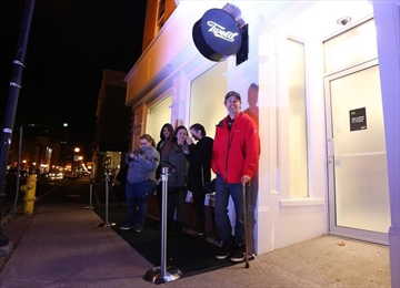 Ian Power is first in line at the Tweed store on Water Street in St. John's N.L. on Tuesday, October 16, 2018. He hopes to make history and buy the first legal cannabis for recreational use in Canada after midnight. THE CANADIAN PRESS/Paul Daly