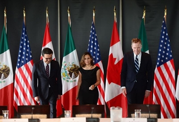 Minister of Foreign Affairs Chrystia Freeland meets for a trilateral meeting with Mexico's Secretary of Economy Ildefonso Guajardo Villarreal, left, and Ambassador Robert E. Lighthizer, United States Trade Representative, during the final day of the third round of NAFTA negotiations at Global Affairs Canada in Ottawa on Wednesday, Sept. 27, 2017. The NAFTA countries haven't broken up. But they are publicly bickering. They are delaying their next get-together date. And they appear to have agreed they won't be resolving their differences by the end of this year. THE CANADIAN PRESS/Sean Kilpatrick