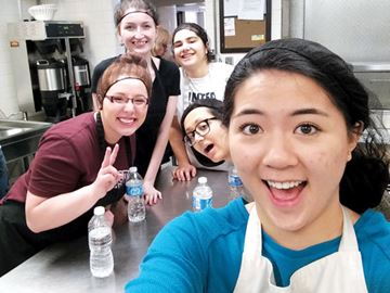 The Wesley Soup Kitchen volunteer group includes Kimberley Benincasa (left), Tasha Benn, Rachel D'Arsie, Jaya de Rege and Maria D'Azevedo.