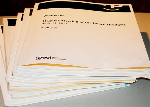 Peel School Board: Board Eyes Paper Cut