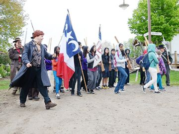 Students join William Lyon MacKenzie (left) in his march of 1837.