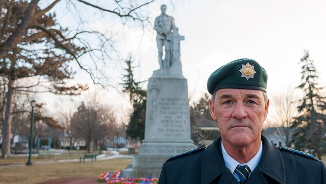 Fred Smith at the Victoria Park cenotaph