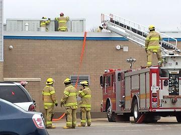 Rooftop fire at Little Falls School
