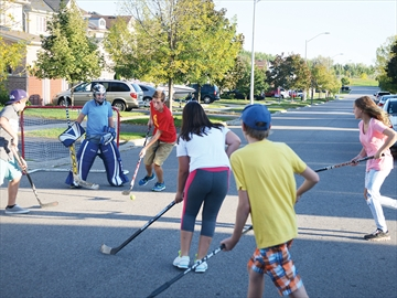 Street hockey on Brooking Street