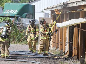 Firefighters put out blaze at storage locker