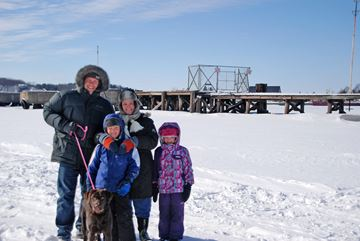 The Wesley family of Parry Sound braved the -15C temperature to go out on the ice at Champagne Street for some quality family time. Pictured left to right, Howard Wesley, Liam Wesley, Sabrina Wesley, and Lucy Wesley with their chocolate lab, Daisy.