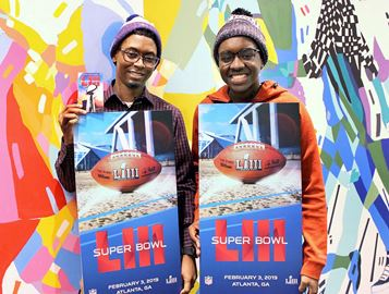 Big Brothers Big Sisters of Toronto's Yusuf Williams (left) and his Big Brother Tejai Hamilton were recently surprised with two tickets to the 2019 NFL Super Bowl.