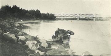 Car in river