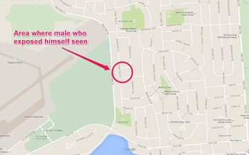 Area where male who exposed himself was seen