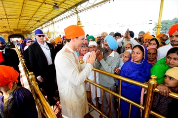 Prime Minister Justin Trudeau is greeted by crowds as he visits the Golden Temple in Amritsar, India on Wednesday, Feb. 21, 2018. THE CANADIAN PRESS/Sean Kilpatrick
