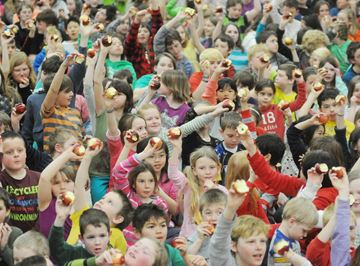 Some 450 students at Chemong Public School in Bridgenorth took part in the Great Big Crunch event.