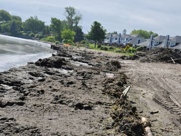 Storm washes up mess on Jones Beach